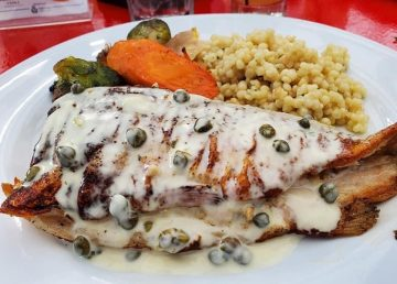 stuffed trout with carrots and rice