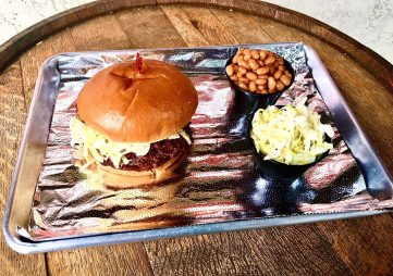BBQ Sandwic, cole slaw and baked beans